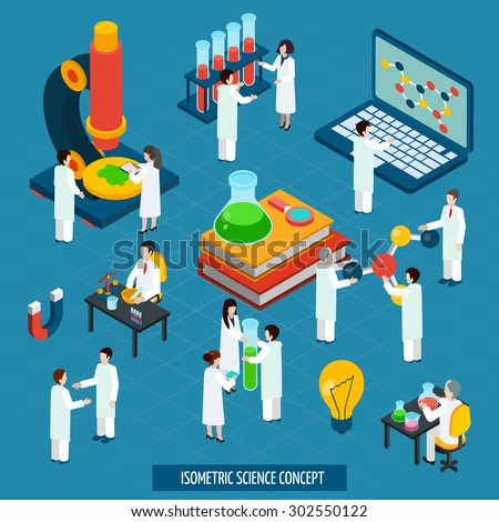 Scientific research concept isometric composition of bio chemistry laboratory with laptop and microscope poster abstract vector illustration - stock vector