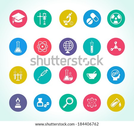 scientific research icons for work on chemical, biological and micro research - stock vector