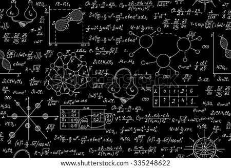 Scientific vector endless texture with chemical and physical formulas, tasks, plots - stock vector