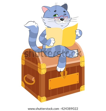 Scientist cat with glasses. Tabby cat reading the newspaper. Wealth, well-being - stock vector