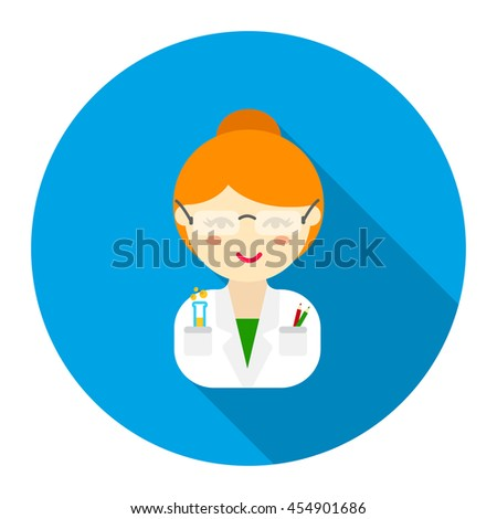 Scientist flat icon. Illustration for web and mobile. - stock vector