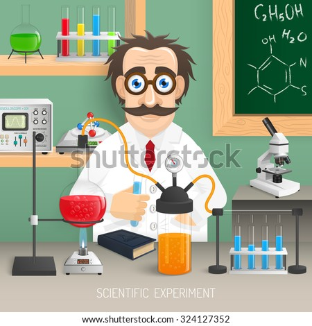 Scientist in chemistry lab with realistic scientific experiment equipment vector illustration - stock vector