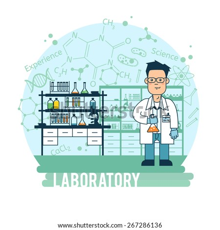 Scientist in laboratory experiments were conducted. - stock vector