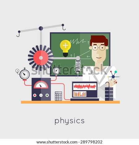 Scientist physicist at the laboratory. Physics. Laboratory workspace and workplace. Flat design vector illustration. - stock vector