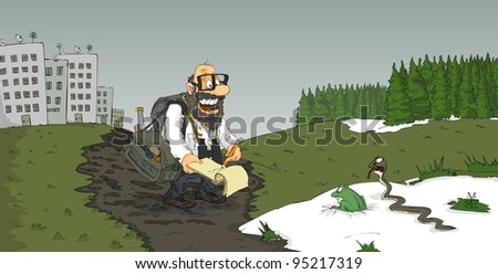 Scientist will watch a frog and snake in the snow - stock vector