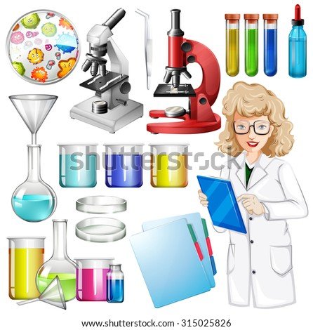 Scientist with science equipment illustration - stock vector