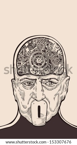 Scientist with Superconscious Mind, using telepathy and brainwave frequency. - stock vector