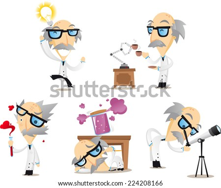 Scientist working in lab telescope idea frustrated tired happy. Vector illustration cartoon.  - stock vector
