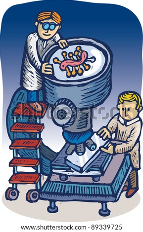 Scientists looking for some virus through a big microscope lens. Illustration in engrave style. - stock vector