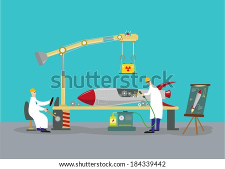 Scientists working on a rocket missile warhead. Reverse engineering concept.  - stock vector