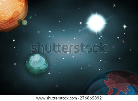 Scifi Space Background For Ui Game/ Illustration of a beautiful comic starry space landscape with alien moons, asteroids and  planet for sci-fi ui game - stock vector