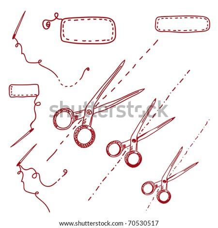 Scissors and needles doodle set - stock vector