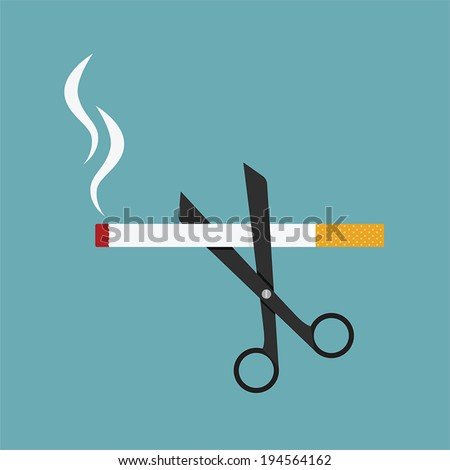 scissors cut a cigarettes, concept for anti smoking - stock vector
