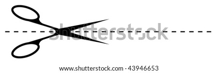 scissors cutting along the dotted line - stock vector