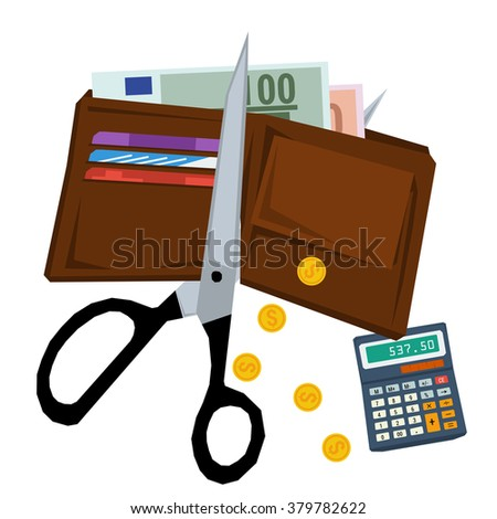 Scissors cutting purse with money - concept of budget cuts, financial crisis, debt and bankruptcy. Vector illustration in flat style - stock vector