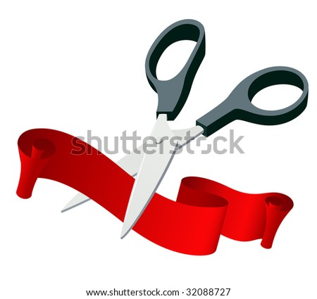 Scissors cutting ribbon, vector illustration, EPS file included - stock vector