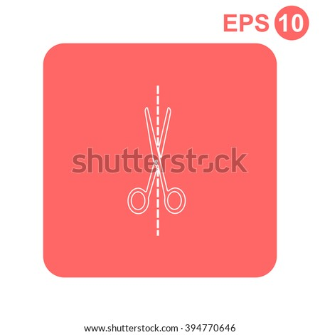 Scissors cutting vector icon. - stock vector