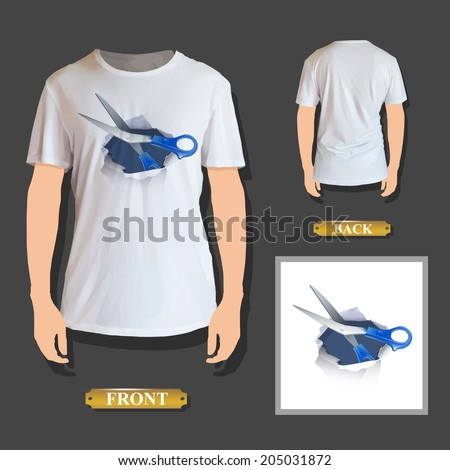 scissors inside hole paper printed on shirt - stock vector