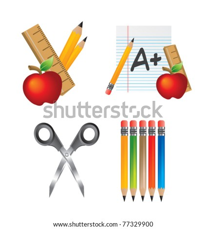 Scissors, pencils, graded paper, apples, and rulers - stock vector