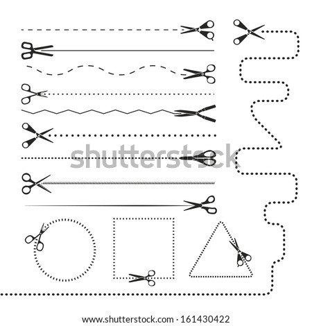 Scissors silhouettes dividers. Vector design elements - stock vector