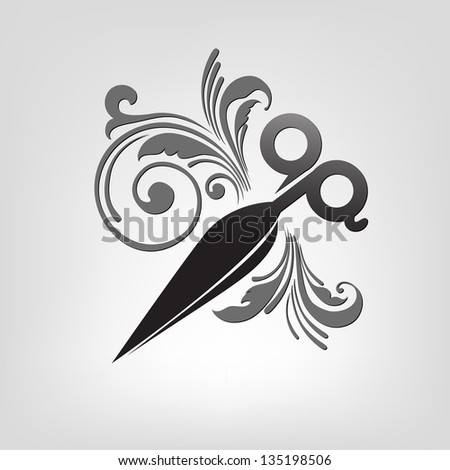 scissors. stylization. - stock vector