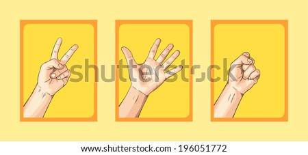 Scissors VS Paper VS Rock on Yellow Tone - stock vector