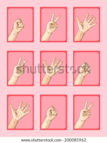 Scissors VS Paper VS Rock 3 X 3 on Pink Tone - stock vector