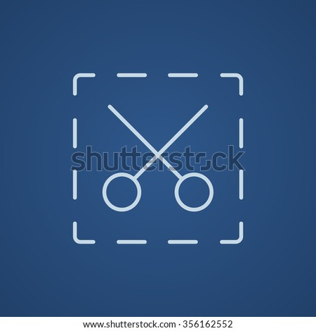 Scissors with dotted lines line icon for web, mobile and infographics. Vector light blue icon isolated on blue background. - stock vector