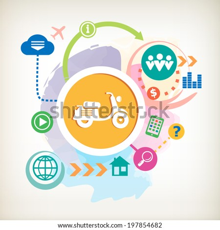 Scooter and and cloud on abstract colorful watercolor background with different icon and elements.  - stock vector
