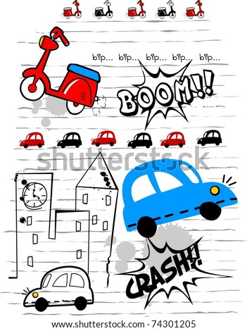 scooter and car - stock vector