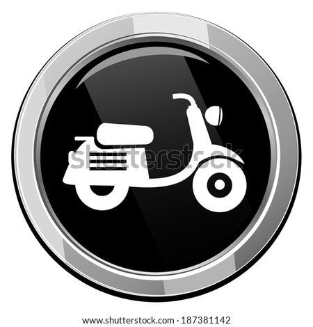 Scooter. Black round icon. - stock vector