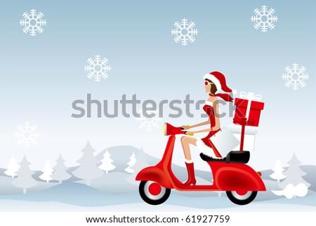 Scooter Santa Girl. Illustration vector. - stock vector