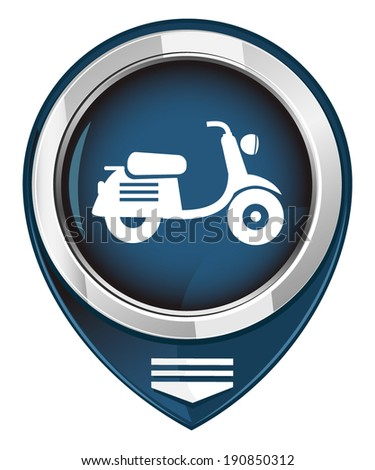 Scooter. Single map pointer. - stock vector