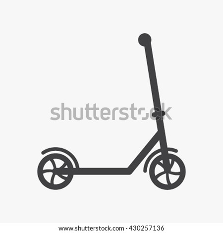 scooter toy scooter silhouette in a flat style isolated. Icon vector illustration - stock vector