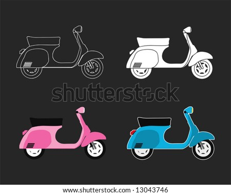 scooter vector set - stock vector