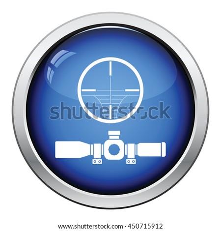 Scope icon. Glossy button design. Vector illustration. - stock vector