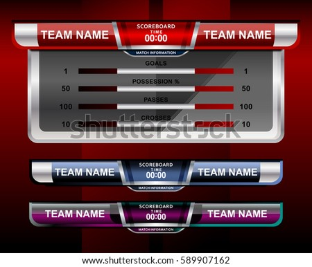 Scoreboard Broadcast Graphic Template Soccer Football Stock Vector