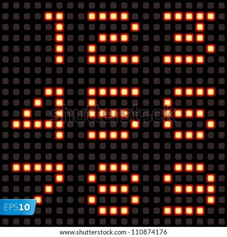 Scoreboard lamp numbers set. Vector Eps10 illustration.