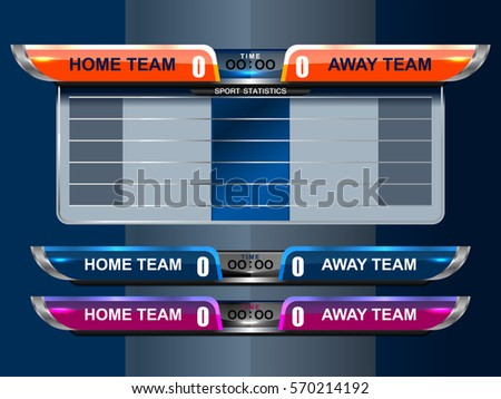 Scoreboard Sport Template Football Soccer Vector Stock Vector