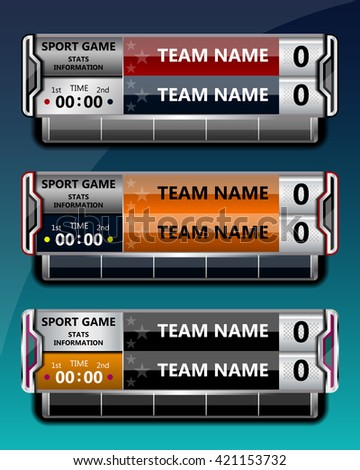 Sport Scoreboard Template Football Soccer Vector Stock Vector