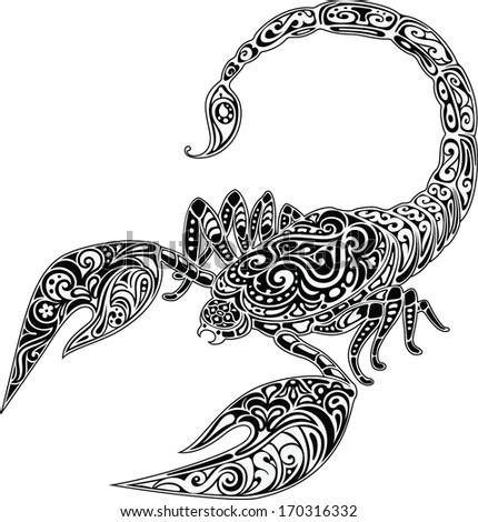 Scorpio, black & white - stock vector