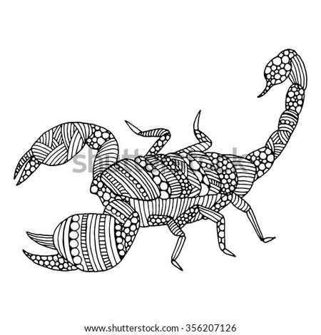 Scorpio doodle illustration on simple white background - stock vector