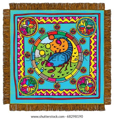 Scorpio horoscope sign carpet - stock vector