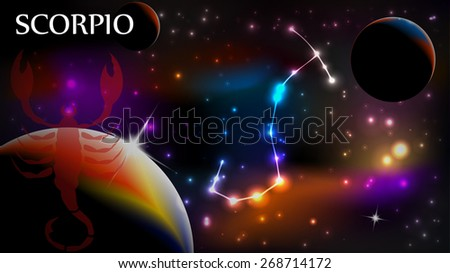 Scorpio - Space Scene with Astrological Sign and copy space - stock vector