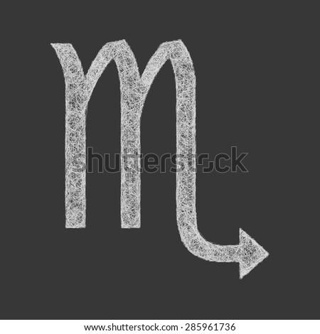 Scorpio zodiac sign line art - stock vector