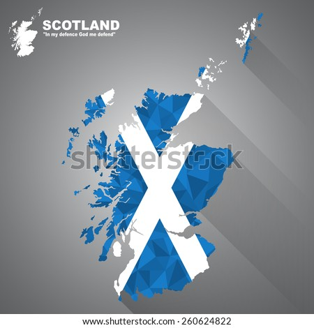 Scotland flag overlay on Scotland map with polygonal and long tail shadow style (EPS10 art vector) - stock vector