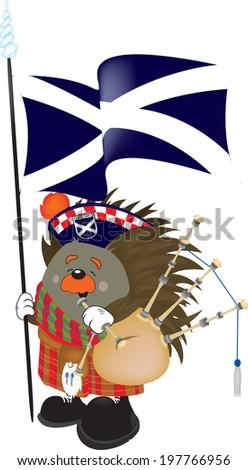 scotland hedgehog - stock vector