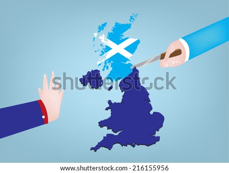 Scotland Independence from United Kingdom concept. One hand cuts map while other objects. - stock vector