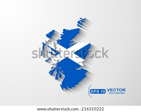 Scotland map with shadow effect - stock vector