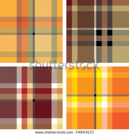Scotland seamless texture set. Various variants of design. Vector illustration (EPS10). All parts (object) closed, possibility to edit. - stock vector